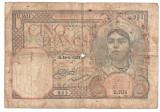 ALGERIA 5 FRANCI 1929 U