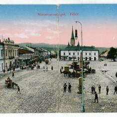 1490 - Maramures, SIGHET, Market - Double old postcard - used - 1915 - Carte Postala Maramures 1904-1918, Circulata, Printata