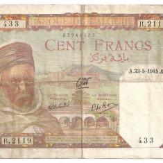 ALGERIA 100 FRANCI 1945 F - bancnota africa