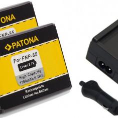 1 PATONA | Incarcator + 2 Acumulatori pt Fuji NP85 NP 85 SL300 SL240 SL305 NP95 - Baterie Camera Video