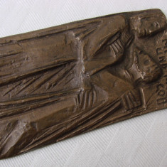 Basorelief religios pe bronz (14) - Metal/Fonta, Ornamentale