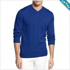 Bluza TOMMY HILFIGER - Pulover, Bluze Barbati - 100% AUTENTIC - Bluza barbati Tommy Hilfiger, Marime: M, Culoare: Albastru, Bumbac