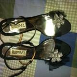 Sandale Badgley Mischka Raphaela Slingback - Sandale dama, Culoare: Negru, Marime: 37.5, Piele naturala