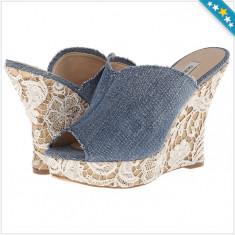 100% AUTENTIC - Saboti GUESS Benjy - Sandale Dama, Femei - Sandale Stil Blugi cu Dantela - Sandale Originale GUESS, Culoare: Din imagine, Marime: 38