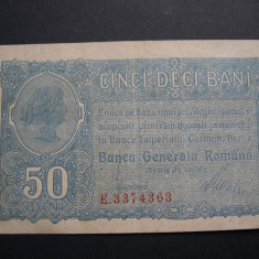 50 bani 1917 Banca Generala Romana (BGR) varianta cu 7 cifre in serie E33. - Bancnota romaneasca