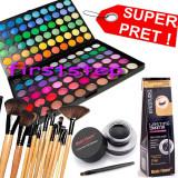 Trusa machiaj paleta farduri profesionala MAC 120 culori + set 12 pensule make up Bobbi Brown + Cadou eyeliner tus gel ochi negru - Trusa make up
