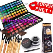 123123Trusa machiaj paleta farduri profesionala MAC 120 culori + set 12 pensule make up Bobbi Brown + Cadou eyeliner tus gel ochi negru