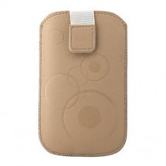 Toc Slim iPHONE 4/Samsung Ace Cappucino - Husa Telefon Atlas, Maro, Piele Ecologica