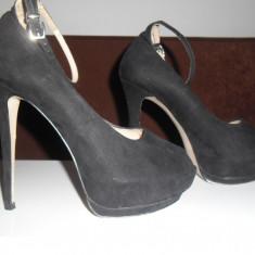 Pantofi decupati, Zara Basic Women, nr39-40 - Pantof dama Zara, Culoare: Negru, Piele intoarsa, Cu toc