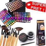 Trusa machiaj paleta farduri profesionala MAC 180 culori + set 12 pensule make up Bobbi Brown + Cadou eyeliner tus gel ochi negru - Trusa make up