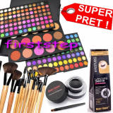 Trusa machiaj paleta farduri profesionala MAC 183 culori + set 12 pensule make up Bobbi Brown + Cadou eyeliner tus gel ochi negru, Mac Cosmetics