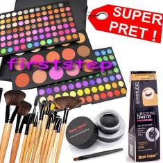Trusa machiaj Mac Cosmetics paleta farduri profesionala MAC 183 culori + set 12 pensule make up Bobbi Brown + Cadou eyeliner tus gel ochi negru