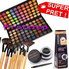 Trusa machiaj Mac Cosmetics paleta farduri profesionala MAC 120 culori + set 12 pensule make up Bobbi Brown + Cadou eyeliner tus gel ochi negru