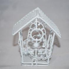 Marturii nunta/botez Colivie metalica alba, model deosebit marturie cusca metal