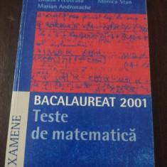 BACALAUREAT 2001 - TESTE DE MATEMATICA -- Liliana Preoteasa, Monica Stan, Marian Andronache -- 2001, 144 p. - Teste Bacalaureat humanitas, Humanitas