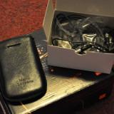 Husa Telefon Mario Seppona pentru Smartphone Blackberry 8520 + Handfree Original, Negru, Piele, Fara snur, Toc