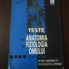 TESTE DE ANATOMIA SI FIZIOLOGIA OMULUI -- Valentina Nitescu -- 148 p. - Teste admitere facultate