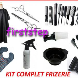 Set kit frizerie coafor COMPLET cu foarfeca profesionala tuns filat pelerina