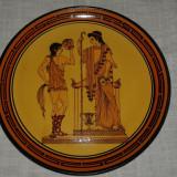 Platou Vechi Decorativ De Ceramica Grecia Hand Made Grecia 33,5 cm D