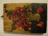 Pictura ulei pe lemn semnata, Flori, Art Deco