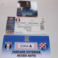 Acreditare meci fotbal + bilet + tichet parcare ASTRA GIURGIU - DINAMO ZAGREB 27.11.2014 - Bilet meci