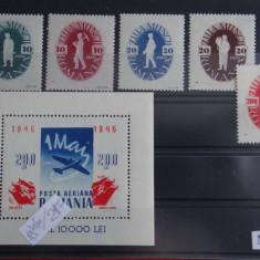 Mz319-1946 1 Mai-ziua muncii-serie+colita dantelata Timbre-Romania-nestampilate
