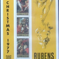 GIBRALTAR 1977 - PICTURA RUBENS,  4 VALORI SI 1 S/S NEOBLITERATE - GB 004