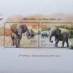 INDIA 2011- ELEFANTI 2 VALORI IN M/SH, NEOBLITERATE - E0898