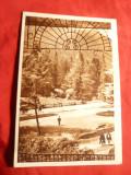 """Ilustrata Tusnad - Parcul ,circulat 1951 cu stamp. patrata de mandate ' zabala"""", Circulata"""