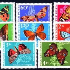 UNGARIA 1969, Fauna - Fluturi, MNH, serie completa neuzata