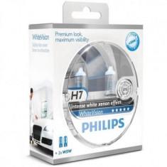 Set 2 Becuri auto far halogen Philips H7 White Vision, 12V, 55W, Becuri auto H7