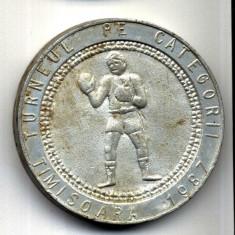 MEDALIE TURNEUL DE BOX PE CATEGORII TIMISOARA 1987 INTREPRINDEREA DE APARATE ELECTRICE DE MASURA SI CONTROL AEM INDUSTRIE SPORT FABRICI UZINA TURNEU - Medalii Romania