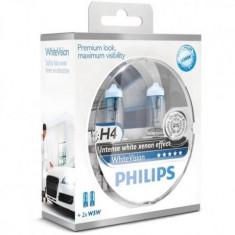 Set 2 Becuri auto far halogen Philips H4 White Vision, 12V, 55W, Becuri auto H4