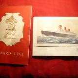 Mapa  a pasagerului pe Nava Cunard Line RMS Queen Mary -Clasa I + Carte Postala cu nava + 3 coli de scrisoare cu Antet - 1960