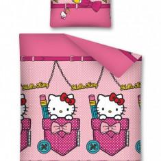 Lenjerie de pat, Hello Kitty, 140X200 - Lenjerie pat copii Disney, Alte dimensiuni, Multicolor, 2 Piese