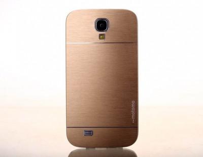 Husa aurie aluminiu cu plastic MOTOMO Samsung Galaxy S4 i9500 i9505 + folie foto