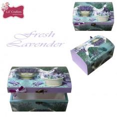 Cufar / cutie de bijuterii decorativa handmade Lavender - Cutie Bijuterii