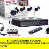 Kit Sistem supraveghere CCTV DVR 4 camere exterior internet cabluri, hdmi