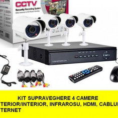 Kit Sistem supraveghere CCTV DVR 4 camere exterior internet cabluri, hdmi - Camera CCTV