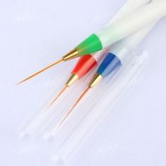Set de 3 pensule pentru pictura pe unghii, pensule pentru tempera cu varf lung - Ustensile