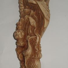Statuie sculptura din alabastru cu aspect de marmura chinezoaica cu papagali - Arta din Asia