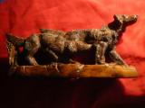 Bibelou - caini de vanatoare , L= 23 cm , rasina ce imita lemnul