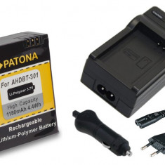 PATONA| Incarcator + Acumulator pt GoPro HD Hero 3 AHDBT-201 AHDBT-301 AHDBT-302 - Baterie Camera Video