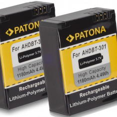 PATONA| 2 Acumulatori pt Gopro HD HERO 3 AHDBT 201 301 AHDBT201 AHDBT301 1180mAh - Baterie Camera Video