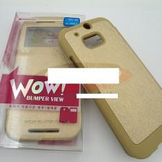 Toc FlipCover EasyView WOW HTC One (M8) GOLD - Husa Telefon HTC, Auriu, Piele Ecologica
