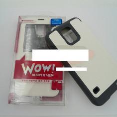 Toc FlipCover EasyView WOW Samsung Galaxy S5 ALB - Husa Telefon Samsung, Piele Ecologica