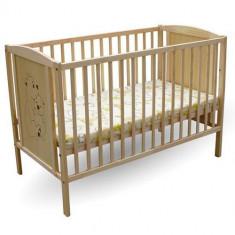 Patut 2 Ursuleti - Patut lemn pentru bebelusi First Smile, 120x60cm, Maro