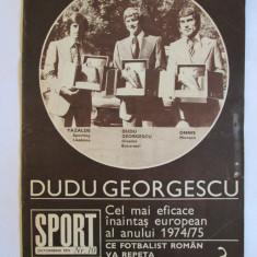 REVISTA SPORT DUDU GEORGESCU CU TROFEUL GHEATA DE AUR A EUROPEI DIN OCTOMBRIE 1975