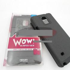 Toc FlipCover EasyView WOW Samsung Galaxy Note 4 NEGRU - Husa Telefon Samsung, Piele Ecologica