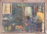 Pictura veche semnata, ulei pe panza